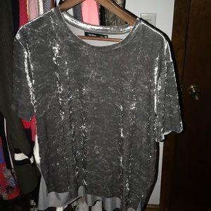 Bershka Grey/Silver Velvet Shirt
